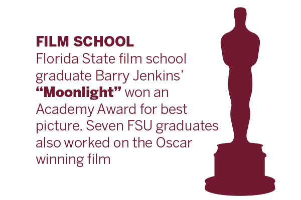 Florida State film school graduate Barry Jenkins' Moonlight won an Academy Award for best picture. Seven FSU graduates also worked on the winning film